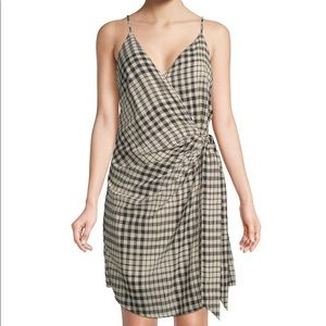 Free People Nodia Check Wrap Mini Dress Large